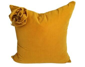 Gold Velvet Pillow Cover, Gold Pillow, Velvet  Pillow 20x20, Pillow Covers, Velvet Bow Pillow