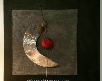 """Tableau sculpture acier """"Lune rouge"""""""