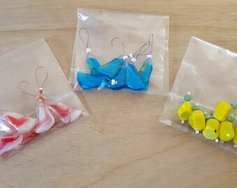 knitting stitch markers - set of 6 - handmade - glass bead