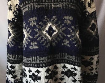 Vintage Blue Tribal Print Buffalo Trading Co Oversized Sweater L/XL