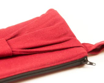 Red Linen Wristlet Handbag Purse with a Bow and Playful Parisian Heart Lining