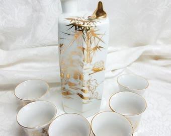 Vintage Morichina Gold Whistling Bird Sake Set, Whistling Bird Porcleian Decanter Hand Painted Japanese Landscape Mt Fuji Sake with 6 Cups
