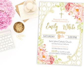 First Communion Invitation Girl Baptism Invitation  Instant Download Girl lace Shabby Chic Christening  Dedication Invitation  idbi65