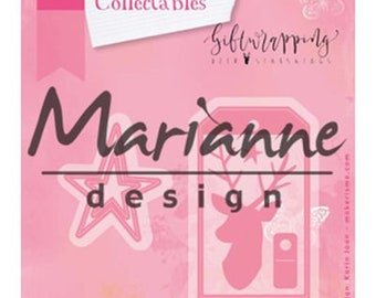 Giftwrapping collectable dies Tag, Deer and Stars Marianne Design