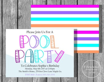 Pool Party Invitation / Swimming Pool Birthday Party / Printable Pool Party / Swimming Birthday / Swimming Party  / Summer Party Invite