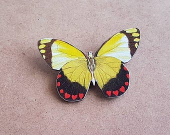 Yellow Butterfly wood brooch pin badge woodcut image kitsch