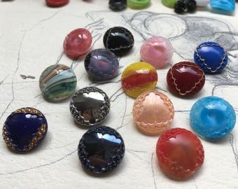 14 beautiful old collector / glass buttons - Art Nouveau knobs - 14 colors