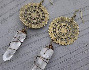 Quartz Earrings Bohemian Jewelry Boho Earrings Gypsy Jewelry Boho Jewelry Bohemain Earrings Bohemian Style Tribal Earrings Gypsy Earrings