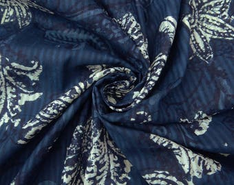 """Dressmaking Fabric, Navy Blue Floral Print, Cotton Fabric, Home Accessories, Decor Fabric, 43"""" Inch Quilting Fabric By The Yard ZBC8664A"""
