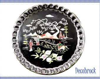 The tray vintage Baret ware Art Grace number 65 T37 Made in England Chinese decor