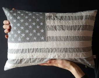 Hand-dyed American flag pillow | Grey
