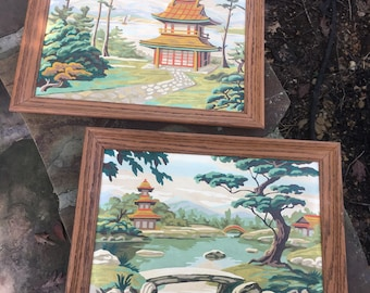 Pair Asian Paint by Numbers Framed