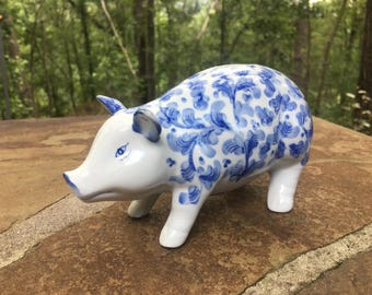 Blue and White Chinoiserie Pig Piggy Bank.