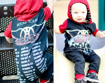 Aerosmith, baby rompers, handmade baby clothes, baby bodysuit, custom baby clothes, trendy toddler clothes, rock music, rock band