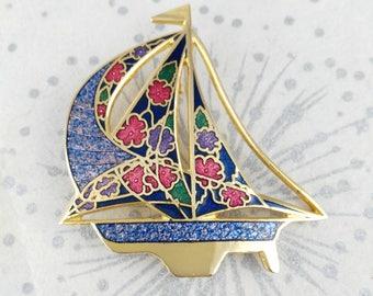 Cloisonne Boat Brooch - Enamel Boat Brooch