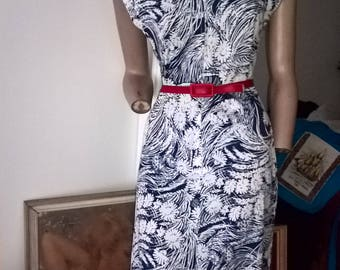 80s cap sleeve floral zip fronted casual day dress size 10