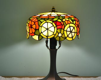 Citrus Tiffany lamp. Stained glass shade. Handmade table lamp. Tiffany lampshade. Dinner table lamp. Home decor. Stained glass art. Lemon