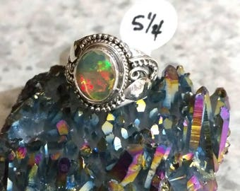 Faceted Ethiopian Opal Ring, Size 5 1/4.