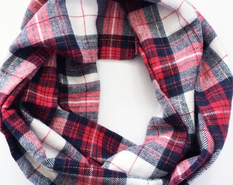 Red, White, and Navy Infinity Scarf / Plaid Flannel Infinity Scarf / Girls Scarf / Girls Fall Scarf / Boys Scarf / Boys flannel Scarf