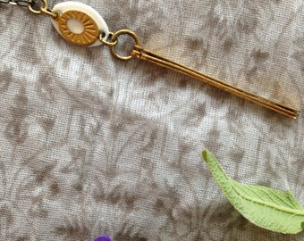 Vintage Enamel and Brass Pendant with Antiqued Brass and Chain