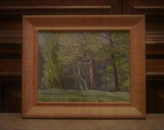 Vintage spring landscape. Oil painting. Original