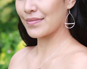 Hammered Teardrop Earring with Faceted Metal Beads, Sterling Silver and 14k Gold Fill, Keola Earring