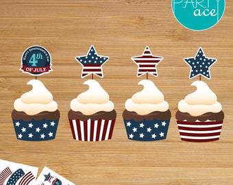 4th of July Cupcake Wrappers and Toppers Independence Day Party Decoration American Flag USA