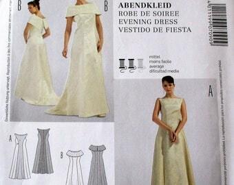 Burda Pattern, Burda7090, plus sizes, fitted evening dress ,floor length evening dress, uneven back hem and collar variations, z: 12 thru 30