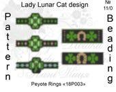 St. Patrick Day, Clover peyote patterns, Shamrock peyote, Rings seed beads patterns, Spring beading, Peyote stitch, beaded rings