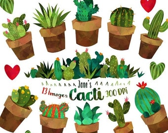 50% OFF Cactus Clipart - Watercolor Cacti and Plants Download - Instant Download - Cute Succulent Border
