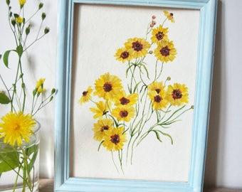 Original watercolor painting| Botanical painting| Flower painting| Watercolor painting| Small painting| Coreopsis