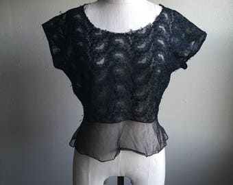 vintage 50s black sheer perry embroidered peplum button up back blouse
