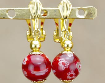 "Earrings""year""in millefiori glass beads"