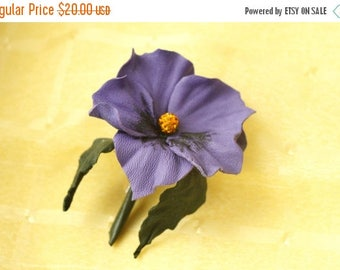 SAVINGS Leather pansy flower brooch, violet flower,  pansy brooch, flower pin, gift for women, for her, gift from son, from husband