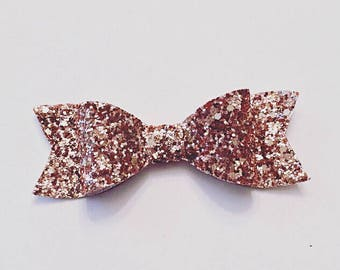 Large Faux Leather Bow | Glitter Hair Clip | Rose Gold Bow | Girls Bow