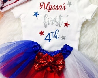 Girl's First 4th of July Outfit Baby's First 4th of July 1st 4th of July Independence Day Fourth July tutu - FREE PERSONALIZATION