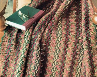 Pretty Rustic Country Afghan Crochet Pattern Autumn Fall Holiday Home Decor Blanket Throw Contemporary Cottage Chic Boho Fringing