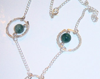 Wire wrapped with green agate necklace