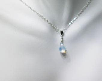 Moonstone Glass Necklace, Rainbow Necklace, Minimalist Jewelry, Simple White Necklace, Czech Glass Necklace