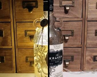 Silver Mercury Effect Upcycled Kraken Spiced Rum Warm White LED Bottle Lamp Light