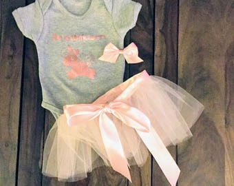 Be a Unicorn, Pink Unicorn Shirt, Pink Unicorn Onesie, Grey and Pink Onesie, Pink Tutu, Pink Satin Bow
