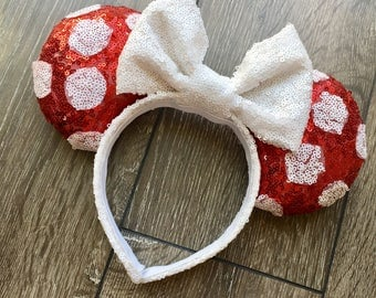 Classic Minnie Mouse inspired design Minnie Ears/ red and white polka dots