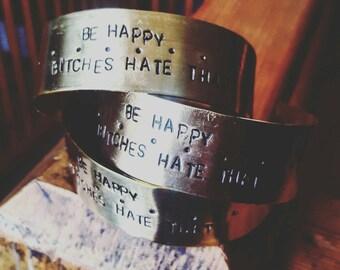 Be Happy... Handstamped Adjustable Cuff Bracelet