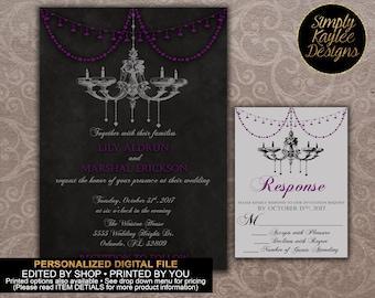 Black and Purple Chandeleir Wedding Invitation Set
