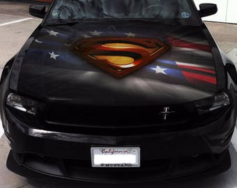Vinyl Car Hood Full Color Graphics Decal Superman Logo USA Flag Man of Steel Sticker