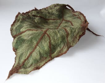 Photo Prop 100% Soft Hand Felted Leave Made from Merino Wool in Greens and Brown, RTS