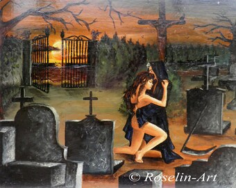 Oil painting. The girl and death
