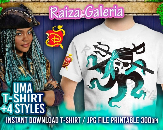 UMA T-Shirt Disney Descendants 2 - Front, Back and Side. Iron On tshirt transfer! Digital Download Printable Descendants 2 Party Tshirts!