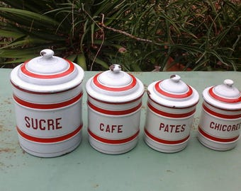 Set of 4 boxes of 1920's enameled kitchen white and red - vintage - Pots enameled french enamel vintage canisters