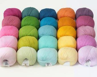 25 balls of DMC Natura Just Cotton and Yummy Colours yarn in different colours, 50 g per skein, crochet yarn, amigurumi yarn, cotton yarn